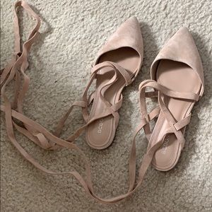 Bcbg nude suede lace up flats